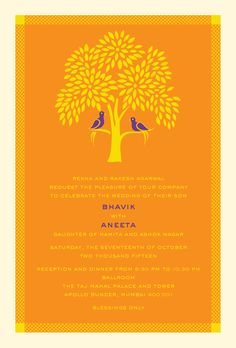 Tree of Life: A modern Indian wedding Invitation Card.