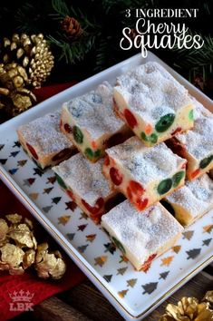 3 Ingredient Cherry Squares 3 Ingredient Cherry Squares – Sometimes a recipe needs to be quick and easy. 3 Ingredient Cherry Squares are just that, but they are also pretty to look at and delicious too! Christmas Deserts, Christmas Treats, Christmas Holiday, Christmas Cookies, Christmas Brunch, Pear And Almond Cake, Almond Cakes, Baking Recipes, Cookie Recipes