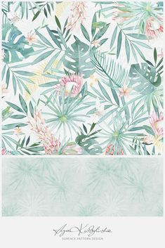 """Aloha"" - a surface pattern design collection, hand illustrated by Aga Kobylińska, featuring protea, pineapples, palm leaves, in hawaiian mood. Prints available on baby products (bedding, clothes, mom's bags) of Makaszka brand. (makaszka.pl) Textile Design, Fabric Design, Print Design, Paper Illustration, Aga, Surface Pattern Design, Baby Products, Spoonflower, Hawaiian"