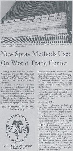 264901dc7dfd1 World Trade Center Construction Asbestos Spray Application Article and  accompanying image describing