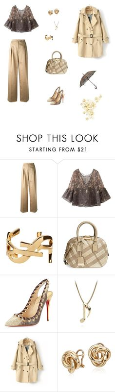 """""""Rain"""" by lle00000 ❤ liked on Polyvore featuring Valentino, Yves Saint Laurent, Burberry, Christian Louboutin, Chicnova Fashion and Blue Nile"""
