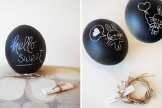 Use ostrich eggs to make these giant chalkboard eggs.