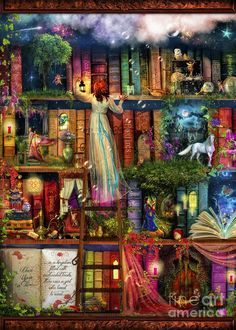Aimee Stewart Digital Art - Treasure Hunt Book Shelf by Aimee Stewart