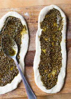 Lebanese flatbread with herbs, sesame seeds and sumac