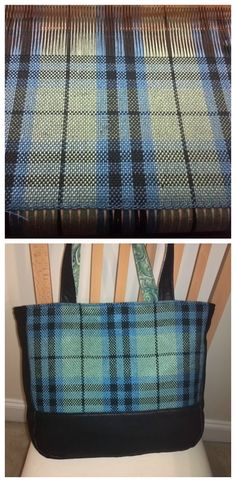 Handwoven Keith tartan tote bag in tencel by Laura Forester. Lined, with interior pockets (one zippered and one open). Plain weave on a rigid heddle loom, following the design and colors of the Ancient Keith clan tartan.