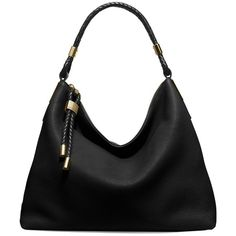Michael Kors Collection Skorpios Leather Hobo Bag ($557) ❤ liked on Polyvore featuring bags, handbags, shoulder bags, black, shoulder strap handbags, hobo handbags, hand bags, michael kors handbags and shoulder strap bags