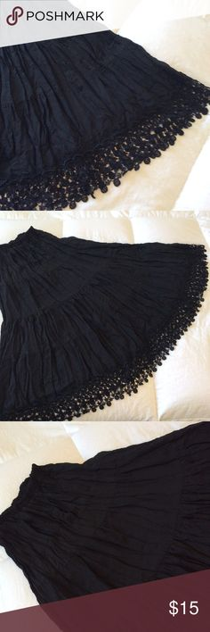 Crochet Lace Bottom Sheer Pleated Skirt Size P/S The Limited very pretty black skirt. Size P/S 100% Polyester. Sheer. 33 length The Limited Skirts Maxi