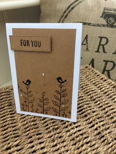 Handmade birthday card,rustic Kraft card, bird themed, multipack,hand stamped, blank inside, notelet, friend, thank you tasteful sentiment