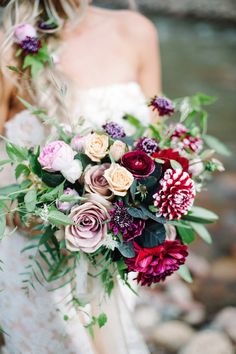 Burgundy, red, lavender, and yellow bridal bouquet | IYQ Photography | see more on: http://burnettsboards.com/2015/04/earthy-vibrant-wedding-editorial/