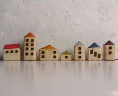 Handmade polymer clay houses, set of 7