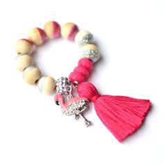Image of Rhinestone Flamingo Charm Bracelet