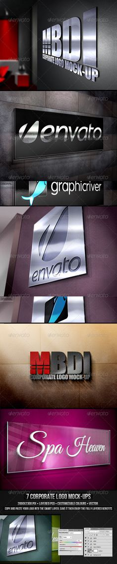 Corporate Logo Mock-up  #GraphicRiver         Impress your clients by showing them a realistic mockup of their logo.   7 realist