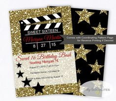 Hollywood Glamour Movie Party Invitation | Sweet SIxteen | Movie Clapper | Movie Star  | Movie Bridal Shower  | PDF | Instant Download