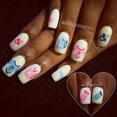 Don't walk into a baby shower with everyday looking nails. Choose one of these super cute baby shower nail designs to make your nails look baby shower special. Baby Nail Art, Baby Nails, Pink Nails, Disney Nail Designs, Fingernail Designs, Nail Art Designs, Nails Design, Gender Reveal Nails, Baby Shower Nails