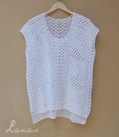 (Crochet) I made this white top as an experiment. Crochet Jacket, Crochet Cardigan, Crochet Shawl, Crochet Yarn, Knit Crochet, Crochet Diagram, Filet Crochet, Crochet Patterns, Blouse Pattern Free