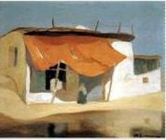 Economou Michael - Red Awning, ca 1927 - 1928 Oil on pasteboard, 45 x 56 cm Greek Paintings, Name Paintings, Greece Map, National Gallery, Greek Art, Fashion Painting, Antique Maps, Landscape Paintings, Landscapes