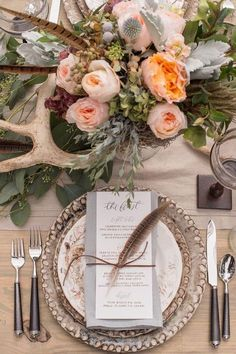 Rustic wedding reception inspiration with farm table, pheasant feathers and antler details designed by Invision Events, florals by Thorne & Thistle, paper goods by Marked, image by Heather Durham Photography. Wedding Table Decorations, Decoration Table, Wedding Centerpieces, Feather Decorations, Feather Centerpieces, Bohemian Wedding Decorations, Centerpiece Flowers, Centerpiece Ideas, Rustic Wedding Reception