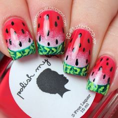 A different take on Watermelon Nails with a touch of gradient for that tutti fruity feel. #nailart Source