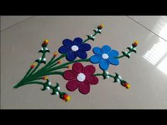 Simple and sobar, very easy rangoli design by Jyoti Raut rangoli Rangoli Simple, Indian Rangoli Designs, Simple Rangoli Designs Images, Rangoli Designs Latest, Colorful Rangoli Designs, Beautiful Rangoli Designs, Rangoli Colours, Rangoli Patterns, Rangoli Ideas