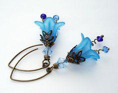blue lucite flower earrings