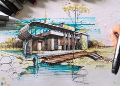 Dibujo Ilustración de edificaciones Architecture Concept Drawings, Architecture Sketchbook, Landscape Architecture, Architecture Design, Perspective Sketch, Building Sketch, Marker, Sketches, Ideas