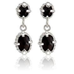 $17.99 - 1.50 Carat Black Onyx Sterling Silver Bullet Cut Double Round Dangle Earrings