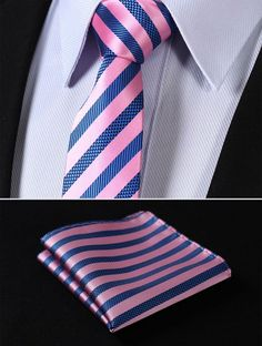 "TS2007K7 Pink Blue Skinny Stripes 2.75"" 100%Silk Woven Slim Skinny Narrow Men Tie Necktie Handkerchief Pocket Square Suit Set"