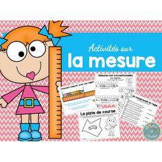 Activités sur la mesure www.lecahierdepenelope.com Fun Math, Math Activities, Math Term, Math Measurement, French Immersion, 1st Grade Math, Grade 2, Teaching French, Too Cool For School