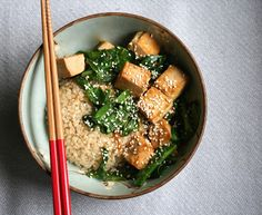 Monash University Low FODMAP Diet: Marinated Tofu with Asian Greens & Rice. Link: http://fodmapmonash.blogspot.com.au/2015/08/marinated-tofu-recipe.html