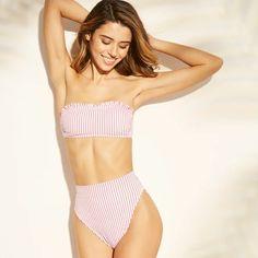 45ecabfd05525 Women s Ruffle Bandeau Bikini Top - Xhilaration™ Red Stripe