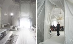 Maison Martin Margiela: The conceptual label's Spring show was held in a literal bubble. The ornate interior of the Hotel Salomon de Rothschild was virtually unrecognisable after it was shrouded from floor to ceiling in sheets of white plastic. Light artist Thierry Dreyfus created a surreal atmosphere by flooding the room with bright sunlight, using huge cinematic lights outside the windows