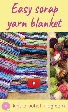 Easy scrap yarn scarf or blanket, crochet tutorial. Step by step instructions. Use up your stash by creating a beautiful colorful scarf or blanket. Crochet tutorial. Crochet instructions. Learn to crochet. Crochet techniques.