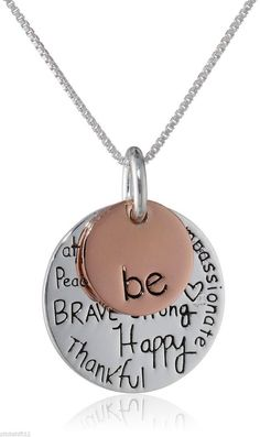 "Oh my gosh.I want this necklace! Two-Tone Sterling Silver with Rose Gold Flashed ""Be Kind Free True Brave Strong Happy Thankful Compassionate"" Two Charm Graffiti Necklace Hand Stamped Metal, Hand Stamped Jewelry, Jewelry Crafts, Handmade Jewelry, Jewelry Ideas, Jewelry Box, Diy Accessoires, Bijoux Diy, Fashion Necklace"