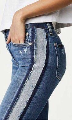 Redo Clothes, Sewing Clothes, Como Fazer Short, Dress Over Pants, Altering Clothes, Girls Fashion Clothes, Denim Outfit, Denim Fashion, Pants For Women