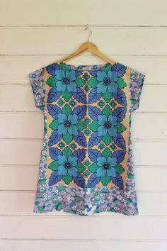 d184c370c3 Upcycled Linen Tea Towel Tunic Women Dress Cotton Blue Green Grey Floral  Small Cotton