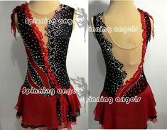 Figure Skating Outfits, Figure Skating Costumes, Figure Skating Dresses, Skater Dress, Aerial Dance, Ice Dance, Dress Red, Formal Dresses, Red Black