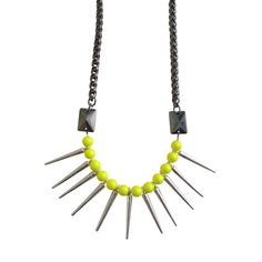Eastern Mystic Glam Punk Tribe Neon Yellow Necklace