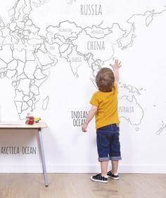 Wereldkaart - Behang