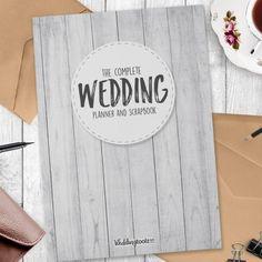 Blanco Grano de madera Planes de boda estilo libro-124 páginas de planificación…