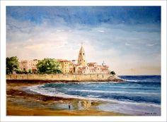 Acuarela de la iglesia de San Pedro en Gijón desde la playa de San Lorenzo. Se trata de una acuarela de un efecto de reflejo en la arena de la playa.