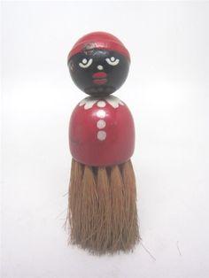 #BlackAmericana Vtg AA Mammy Whisk Broom Aunt Jemima Straw Wood Brush Folk Art #WhiskBroom