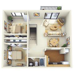 50 plans 3d d 39 appartement avec 2 chambres appartement chambre foyers et maison - Lay outs huis idee ...