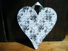 Decoupage Heart Wall Hanging  black and by DriftwoodAndDebris