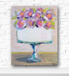 Cake Painting with flowers canvas 8 x 10 roses by DevinePaintings