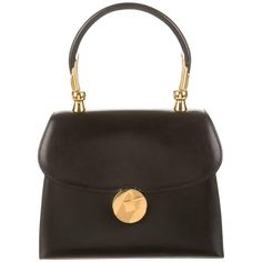 Hermes Black Leather Gold Emblem Kelly Style Evening Top Handle Satchel Bag | From a collection of rare vintage top handle bags at https://www.1stdibs.com/fashion/handbags-purses-bags/top-handle-bags/