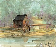 Sixes Mill is a historic landmark in Georgia. Artist P Buckley Moss paints a large variety of images from her home state of Virginia Moss Paint, Winter Christmas Scenes, Art Loft, Trail Of Tears, Autumn Art, Types Of Art, Contemporary Artists, Impressionism, Painted Canvas