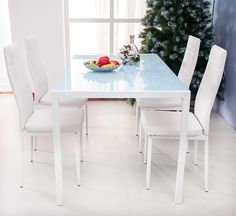 Merax Dining Set Glass Top Metal Table 4 Person Table and Chairs Inch, White) White Dining Table, Dining Table Chairs, Dining Furniture, Modern Furniture, Outdoor Furniture Sets, 5 Piece Dining Set, Table And Chair Sets, White Houses, Home And Garden