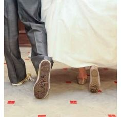 Writing bride and groom's names on each other's shoes like Andy in Toy Story
