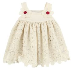 Pale pinky beige right side and lining made of light cotton voile with openwork patterns. Straps with press studs at the dress top.  Matching bloomers.