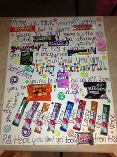 Candy bar card! Making this for my mom for mothers day! #mothersdaygiftscandy